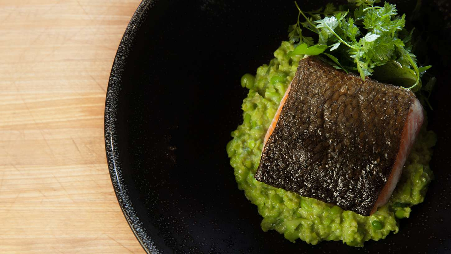 Salmon With Green Pea Mash Sous Vide Recipe Chefsteps