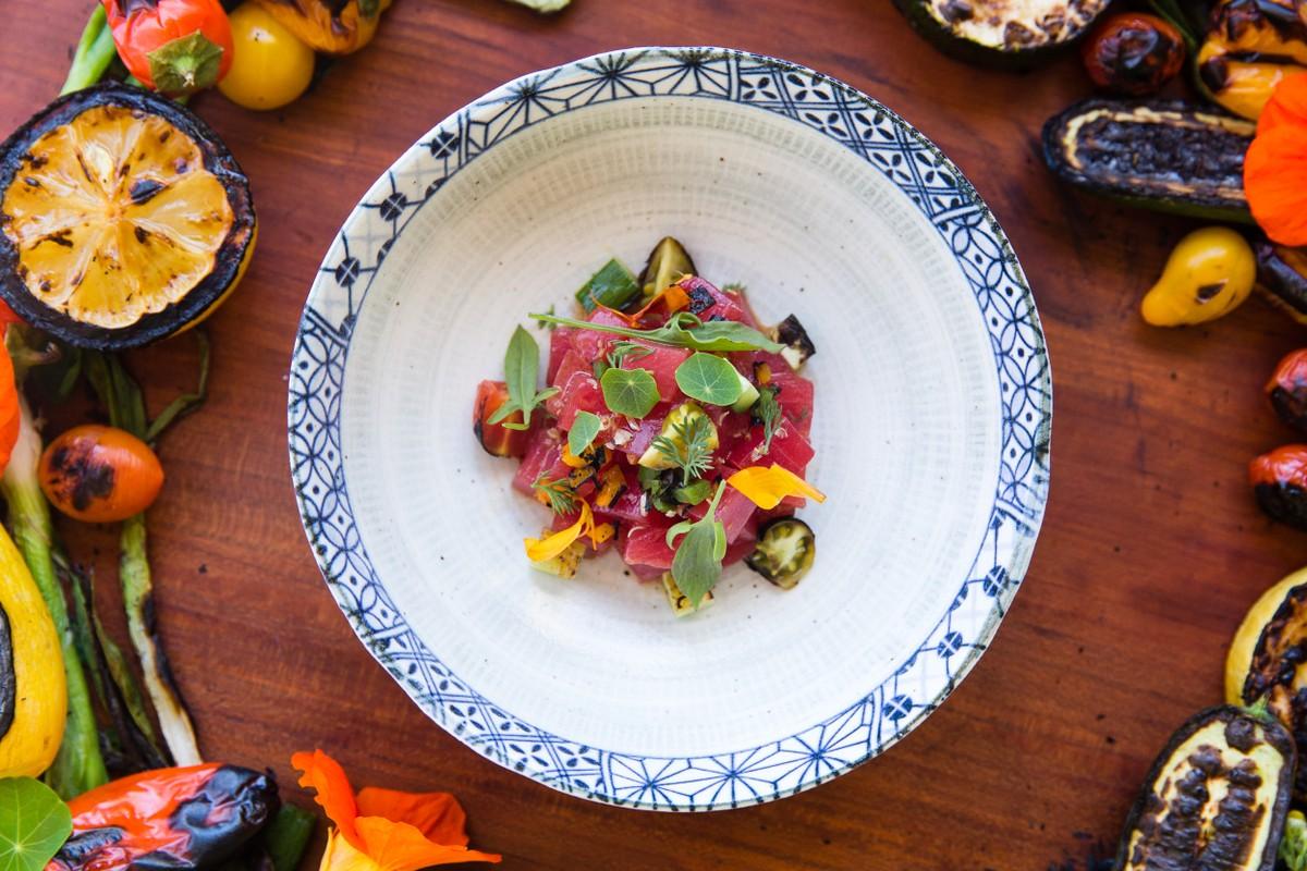 Grilled Vegetable Tuna Tartare