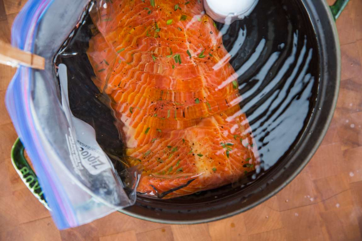 Sous vide salmon sous vide recipe chefsteps cut off the seal or zipper of your ziplock style bag to make sure you dont snag those pretty filets gently transfer them to a plate skin side up ccuart Choice Image