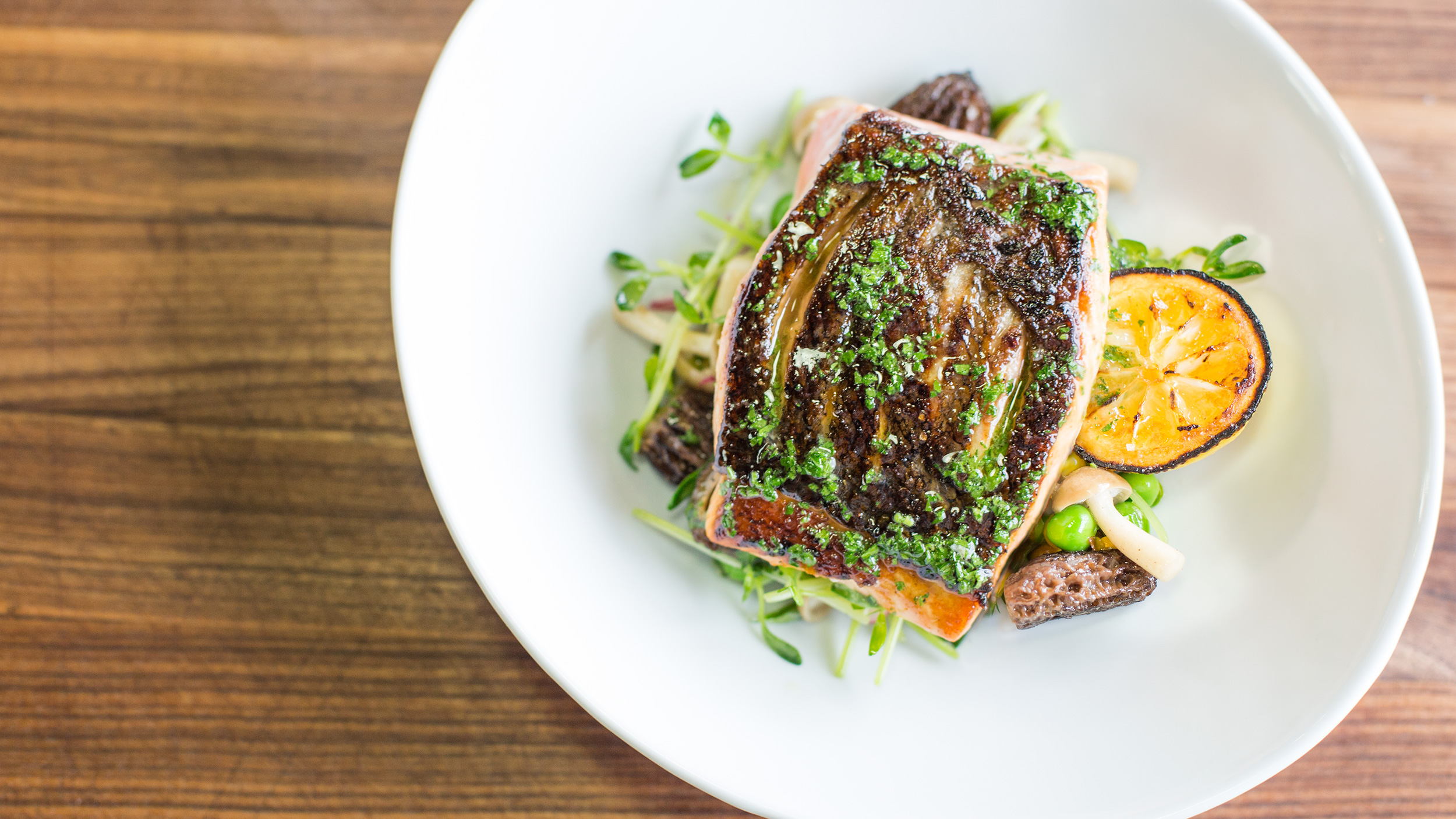 Perfect Salmon With Herb Oil And A Mushroom Brussels Sprouts Salad Sous Vide Recipe Chefsteps